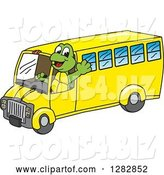 Vector Illustration of a Cartoon Turtle Mascot Waving and Driving a Bus by Toons4Biz