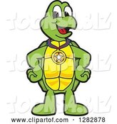 Vector Illustration of a Cartoon Turtle Mascot Wearing a Medal by Toons4Biz