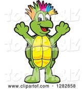 Vector Illustration of a Cartoon Turtle Mascot with a Colorful Mohawk, Cheering by Toons4Biz