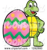 Vector Illustration of a Cartoon Turtle Mascot with a Giant Easter Egg by Toons4Biz
