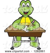 Vector Illustration of a Cartoon Turtle Mascot Writing at a Desk by Toons4Biz