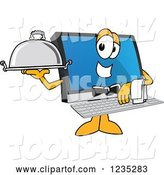 Vector Illustration of a Cartoon Waiter PC Computer Mascot by Toons4Biz