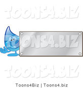 Vector Illustration of a Cartoon Water Drop Mascot by a Blank Silver Plaque by Toons4Biz