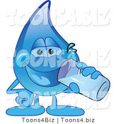 Vector Illustration of a Cartoon Water Drop Mascot Drinking a Glass of Water by Toons4Biz