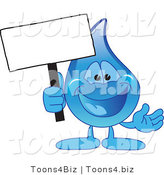 Vector Illustration of a Cartoon Water Drop Mascot Holding a Blank Sign Post by Toons4Biz