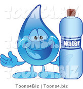 Vector Illustration of a Cartoon Water Drop Mascot Holding a Bottle of Water by Toons4Biz