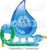 Vector Illustration of a Cartoon Water Drop Mascot Holding a Garden Hose by Toons4Biz