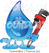 Vector Illustration of a Cartoon Water Drop Mascot Holding a Monkey Wrench by Toons4Biz