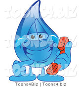 Vector Illustration of a Cartoon Water Drop Mascot Holding a Phone by Toons4Biz