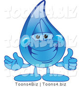 Vector Illustration of a Cartoon Water Drop Mascot Holding a Thumbs up by Toons4Biz