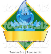 Vector Illustration of a Cartoon Water Drop Mascot Logo with a Green Diamond and a Blank Gold Banner by Toons4Biz