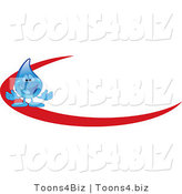 Vector Illustration of a Cartoon Water Drop Mascot Logo with a Red Dash by Toons4Biz