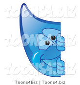 Vector Illustration of a Cartoon Water Drop Mascot Looking Around a Blank Sign by Toons4Biz