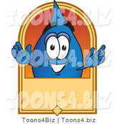 Vector Illustration of a Cartoon Water Drop Mascot on a Blank Tan Label, Logo or Sign by Toons4Biz