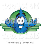 Vector Illustration of a Cartoon Water Drop Mascot on a Green Business Logo by Toons4Biz