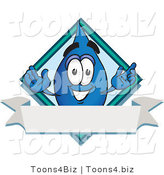 Vector Illustration of a Cartoon Water Drop Mascot over a Blank Banner on a Logo by Toons4Biz