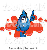Vector Illustration of a Cartoon Water Drop Mascot Pointing up and Standing in Front of a Red Paint Splatter on a Business Logo by Toons4Biz
