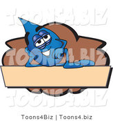 Vector Illustration of a Cartoon Water Drop Mascot Reclining on a Blank Tan and Brown Label by Toons4Biz