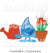 Vector Illustration of a Cartoon Water Drop Mascot with a Watering Can and Tulips by Toons4Biz