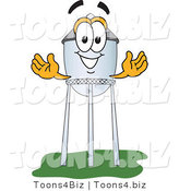 Vector Illustration of a Cartoon Water Tower Mascot with Welcoming Arms by Toons4Biz