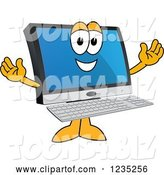 Vector Illustration of a Cartoon Welcoming PC Computer Mascot by Toons4Biz