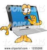 Vector Illustration of a Cartoon Whispering PC Computer Mascot by Toons4Biz