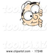 Vector Illustration of a Cartoon White Businessman Nerd Mascot Curiously Peeking Around a Corner by Toons4Biz