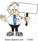 Vector Illustration of a Cartoon White Businessman Nerd Mascot Holding a Blank Sign by Toons4Biz