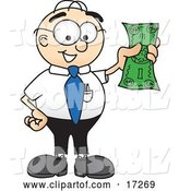 Vector Illustration of a Cartoon White Businessman Nerd Mascot Holding a Dollar Bill by Toons4Biz