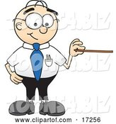 Vector Illustration of a Cartoon White Businessman Nerd Mascot Holding a Pointer Stick by Toons4Biz