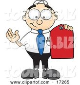 Vector Illustration of a Cartoon White Businessman Nerd Mascot Holding a Red Sales Price Tag by Toons4Biz
