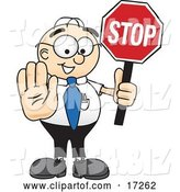 Vector Illustration of a Cartoon White Businessman Nerd Mascot Holding a Stop Sign by Toons4Biz