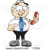 Vector Illustration of a Cartoon White Businessman Nerd Mascot Holding a Telephone by Toons4Biz