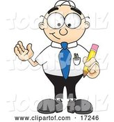 Vector Illustration of a Cartoon White Businessman Nerd Mascot Holding a Yellow Number 2 Pencil with an Eraser Tip by Toons4Biz