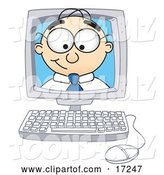 Vector Illustration of a Cartoon White Businessman Nerd Mascot Peeking out from Inside a Desktop Computer Monitor by Toons4Biz