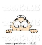 Vector Illustration of a Cartoon White Businessman Nerd Mascot Peeking over a Surface by Toons4Biz
