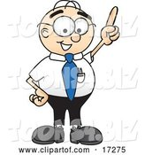 Vector Illustration of a Cartoon White Businessman Nerd Mascot Pointing Upwards by Toons4Biz