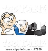 Vector Illustration of a Cartoon White Businessman Nerd Mascot Reclining and Resting His Head on His Hand by Toons4Biz