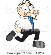 Vector Illustration of a Cartoon White Businessman Nerd Mascot Running by Toons4Biz
