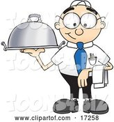 Vector Illustration of a Cartoon White Businessman Nerd Mascot Serving a Dinner Platter by Toons4Biz