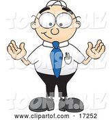 Vector Illustration of a Cartoon White Businessman Nerd Mascot Standing with His Arms out by Toons4Biz