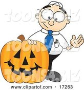 Vector Illustration of a Cartoon White Businessman Nerd Mascot with a Carved Halloween Pumpkin by Toons4Biz