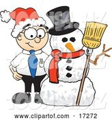 Vector Illustration of a Cartoon White Businessman Nerd Mascot with a Snowman on Christmas by Toons4Biz