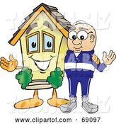Vector Illustration of a Cartoon White Male Senior Citizen Mascot Beside a New House by Toons4Biz