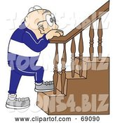 Vector Illustration of a Cartoon White Male Senior Citizen Mascot Climbing Stairs by Toons4Biz