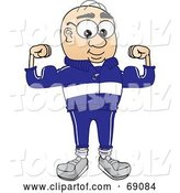 Vector Illustration of a Cartoon White Male Senior Citizen Mascot Flexing by Toons4Biz