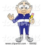 Vector Illustration of a Cartoon White Male Senior Citizen Mascot Holding a Pencil by Toons4Biz