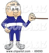 Vector Illustration of a Cartoon White Male Senior Citizen Mascot Holding a Pointer by Toons4Biz