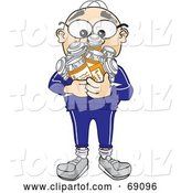Vector Illustration of a Cartoon White Male Senior Citizen Mascot Holding Pill Bottles by Toons4Biz