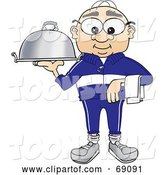 Vector Illustration of a Cartoon White Male Senior Citizen Mascot Serving a Platter by Toons4Biz
